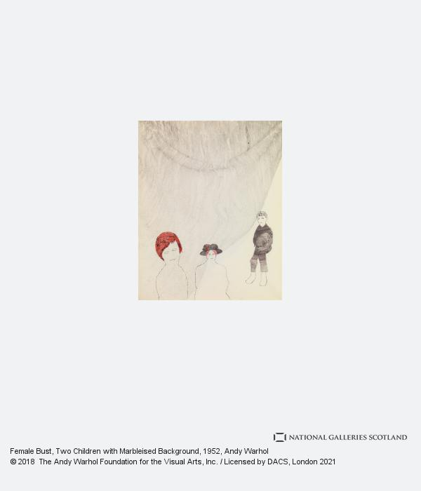 Andy Warhol, Female Bust, Two Children with Marbleised Background (1952)