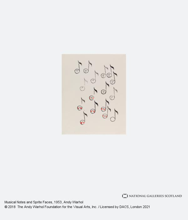 Andy Warhol, Musical Notes and Sprite Faces (1953)