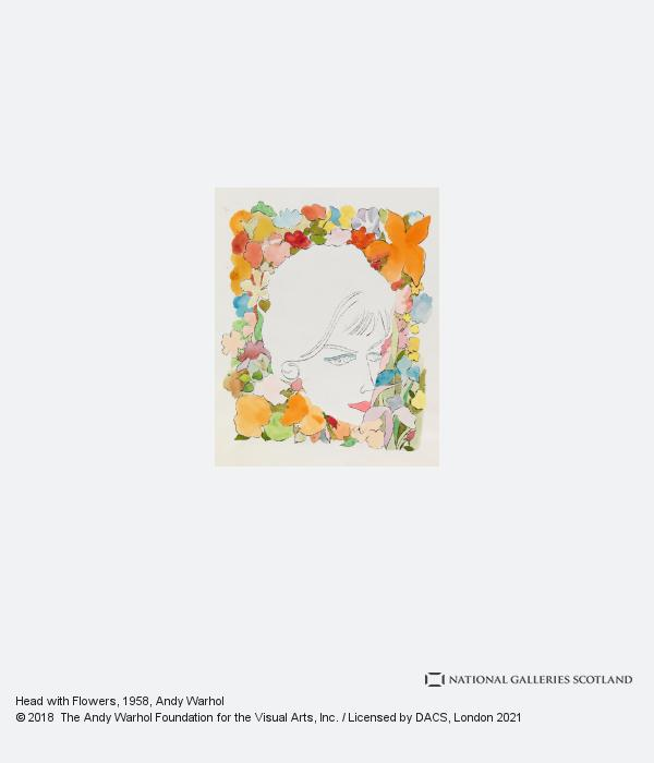 Andy Warhol, Head with Flowers (1958)