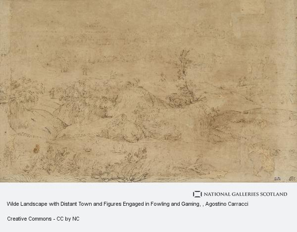 Agostino Carracci, Wide Landscape with Distant Town and Figures Engaged in Fowling and Gaming