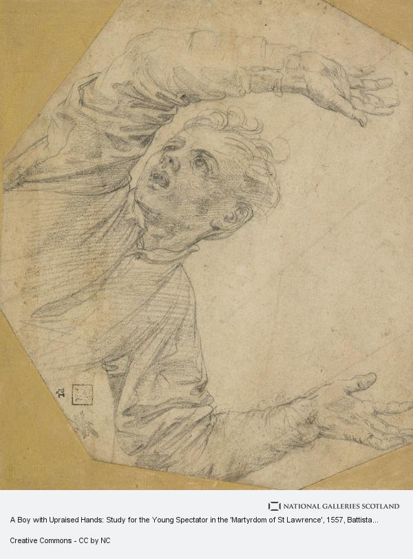 Battista Franco, A Boy with Upraised Hands: Study for the Young Spectator in the 'Martyrdom of St Lawrence' (late 1550s)