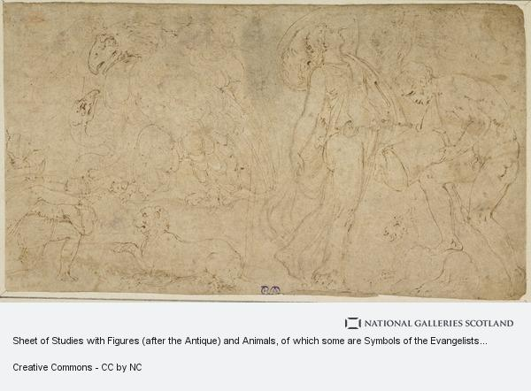 Battista Franco, Sheet of Studies with Figures (after the Antique) and Animals, of which some are Symbols of the Evangelists. In the Extreme Left Corner: Part of...