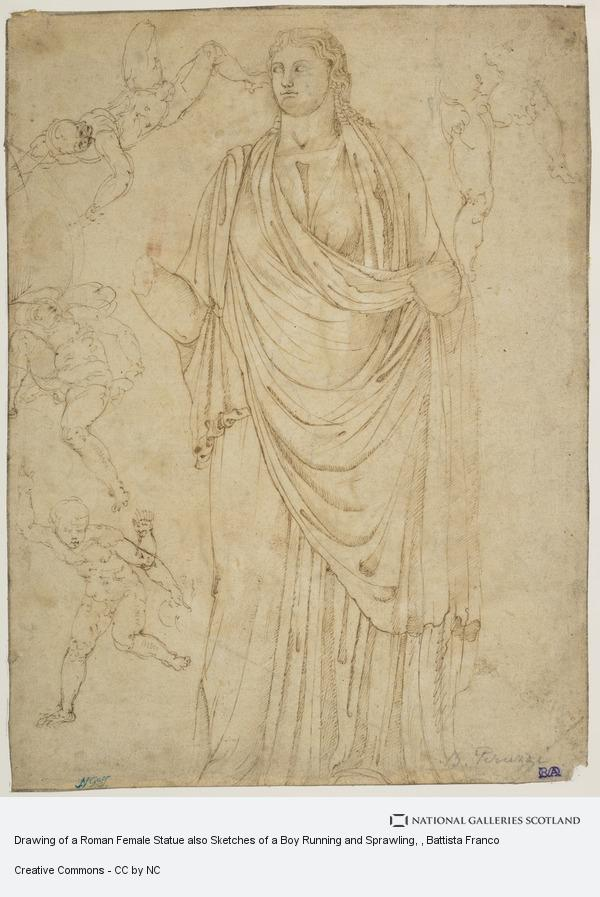 Battista Franco, Drawing of a Roman Female Statue also Sketches of a Boy Running and Sprawling