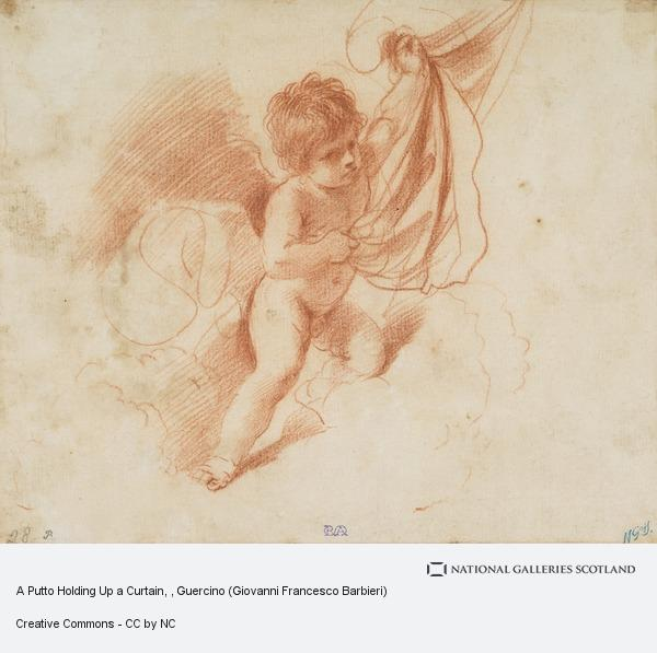 Guercino (Giovanni Francesco Barbieri), A Putto Holding Up a Curtain