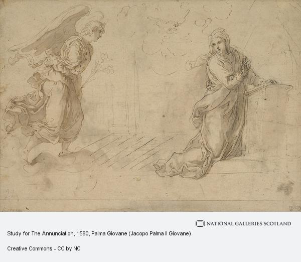 Palma Giovane (Jacopo Palma Il Giovane), Study for The Annunciation