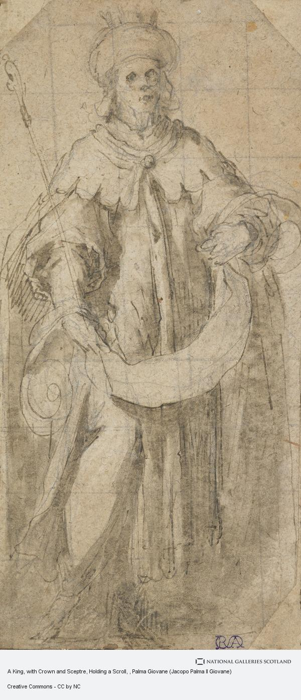 Palma Giovane (Jacopo Palma Il Giovane), A King, with Crown and Sceptre, Holding a Scroll