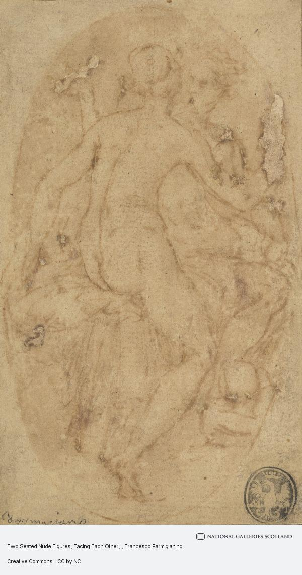 Francesco Parmigianino, Two Seated Nude Figures, Facing Each Other