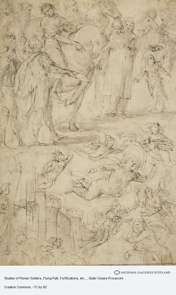 Giulio Cesare Procaccini, Studies of Roman Soldiers, Flying Putti, Fortifications, etc.