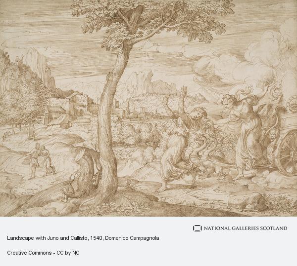 Domenico Campagnola, Landscape with Juno and Callisto