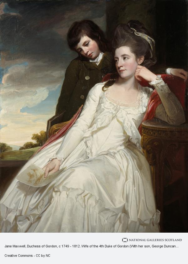 George Romney, Jane Maxwell, Duchess of Gordon, c 1749 - 1812. Wife of the 4th Duke of Gordon (With her son, George Duncan, 1770 - 1836. Marquess of Huntly,... (1778)