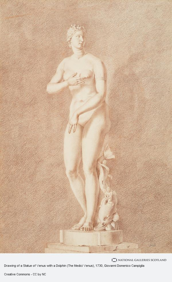 Giovanni Domenico Campiglia, Drawing of a Statue of Venus with a Dolphin (The Medici Venus)