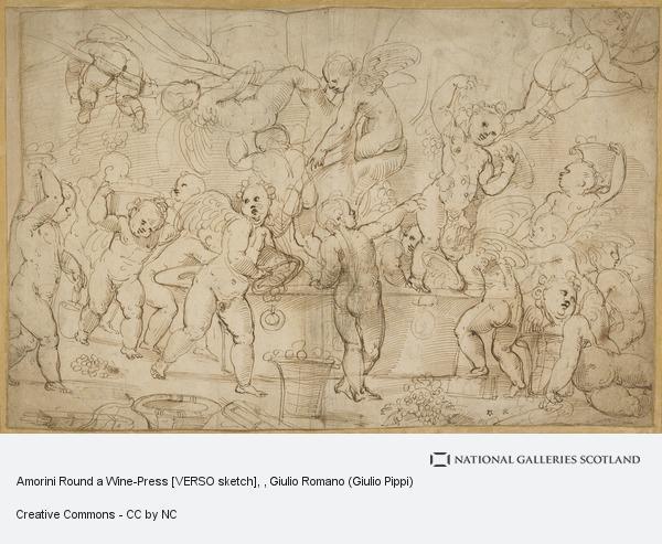 Giulio Romano (Giulio Pippi), Amorini Round a Wine-Press [VERSO sketch]