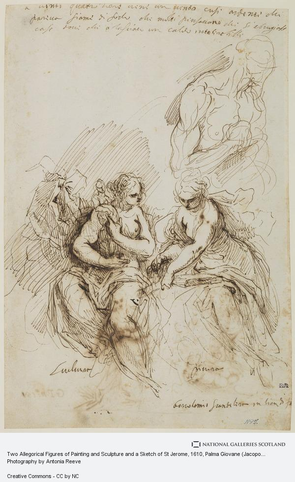 Palma Giovane (Jacopo Palma Il Giovane), Two Allegorical Figures of Painting and Sculpture and a Sketch of St Jerome