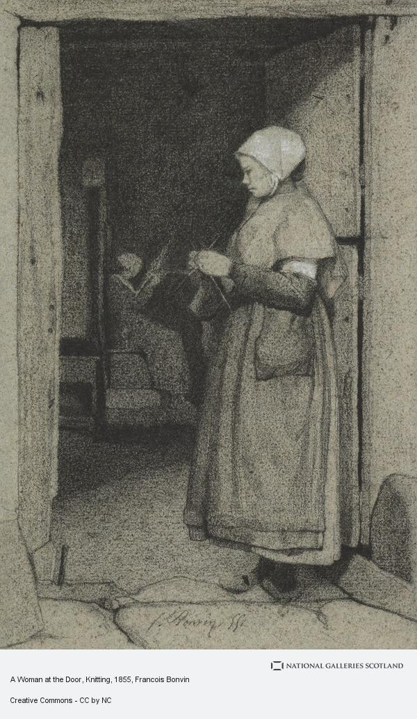 Francois Bonvin, A Woman at the Door, Knitting