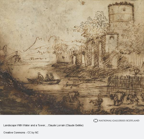 Claude Lorrain (Claude Gellée), Landscape With Water and a Tower