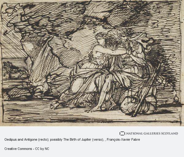 François-Xavier Fabre, Oedipus and Antigone (recto); possibly The Birth of Jupiter (verso)