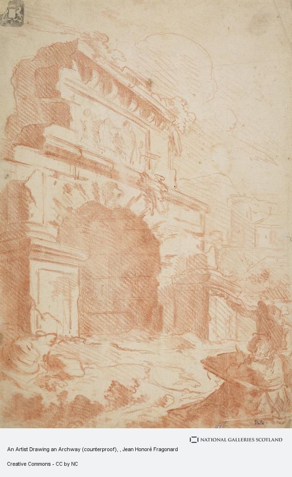 Jean Honoré Fragonard, An Artist Drawing an Archway (counterproof)