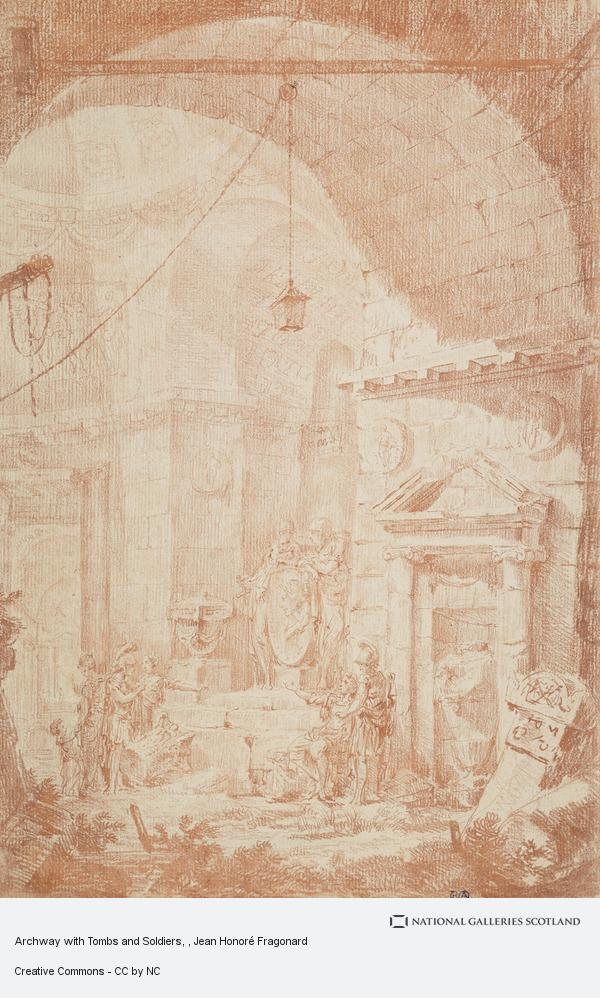 Jean Honoré Fragonard, Archway with Tombs and Soldiers