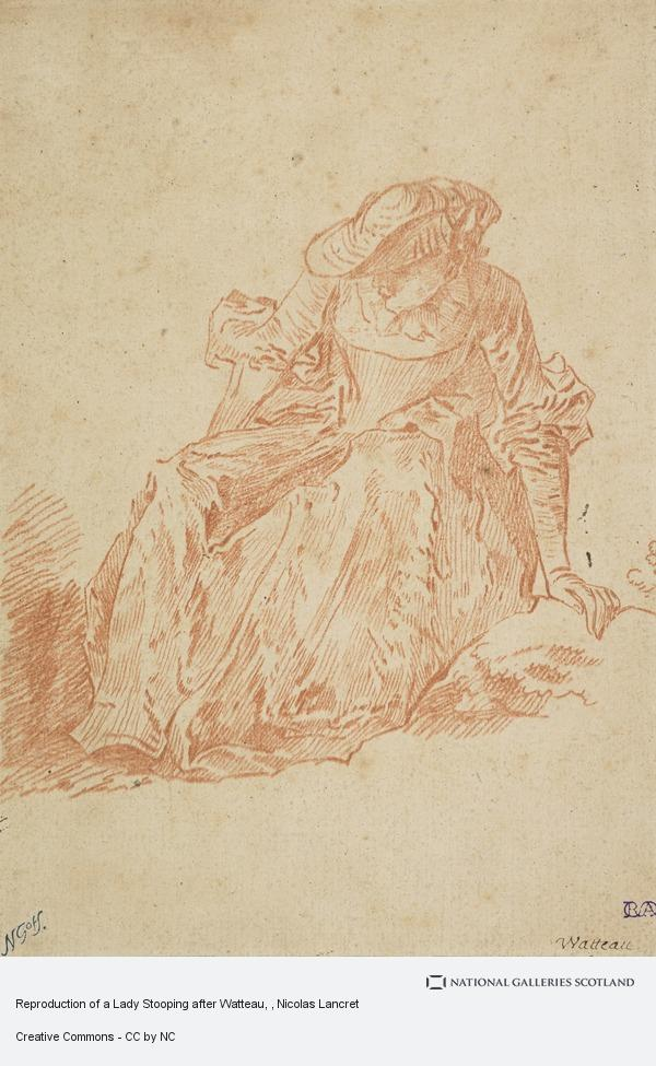 Nicolas Lancret, Reproduction of a Lady Stooping after Watteau