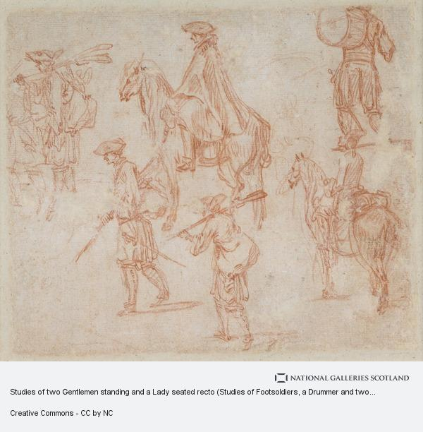 Jean-Antoine Watteau, Studies of two Gentlemen standing and a Lady seated recto (Studies of Footsoldiers, a Drummer and two Cavaliers verso)