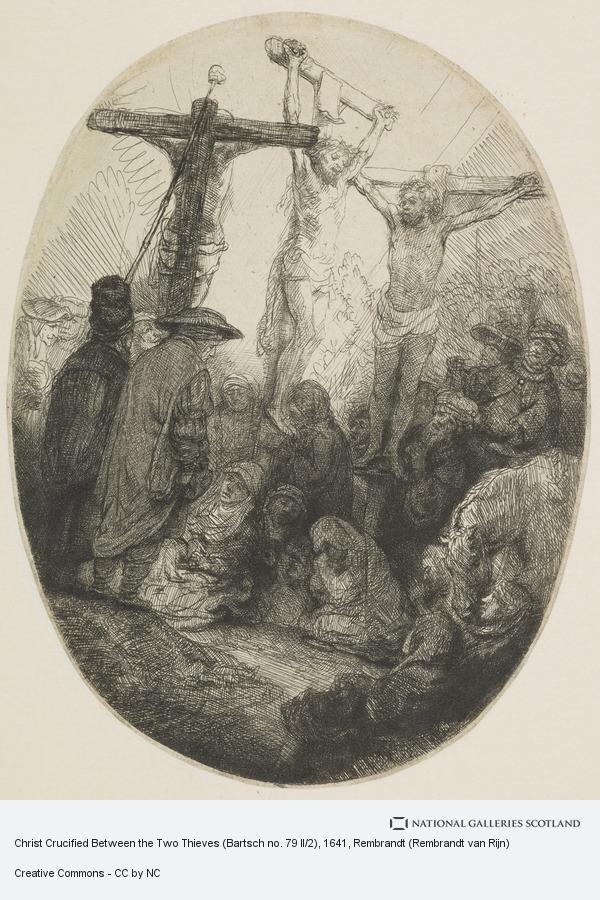 Rembrandt (Rembrandt van Rijn), Christ Crucified Between the Two Thieves (Bartsch no. 79 II/2)