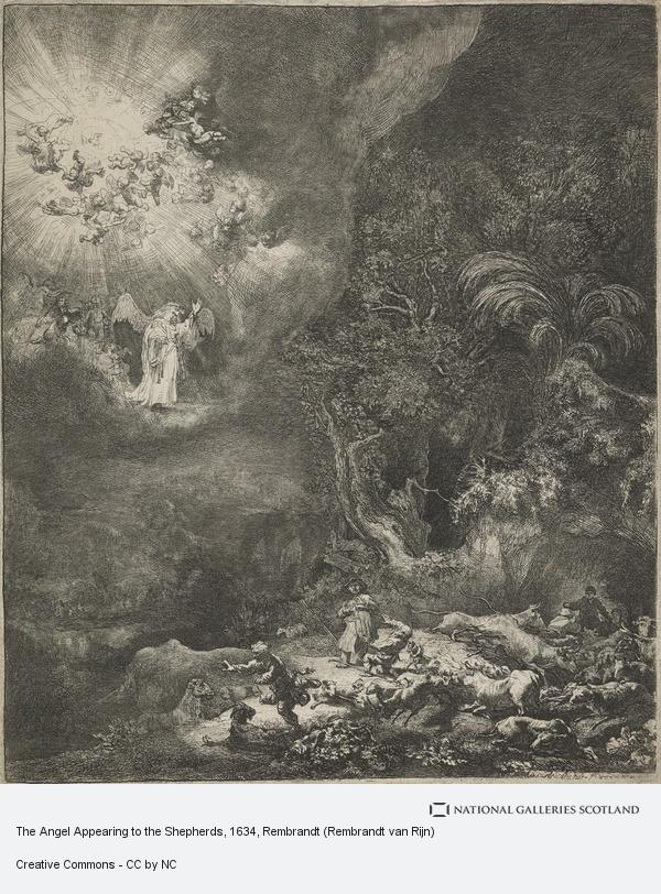 Rembrandt (Rembrandt van Rijn), The Angel Appearing to the Shepherds