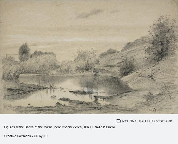 Camille Pissarro, Figures at the Banks of the Marne, near Chennevières, in the Region of the Varenne-Saint-Maur (About 1863 - 1864)