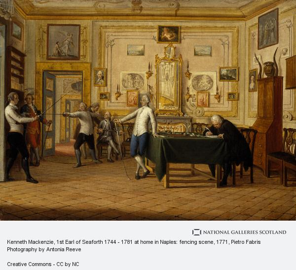Pietro Fabris, Kenneth Mackenzie, 1st Earl of Seaforth 1744 - 1781 at home in Naples: fencing scene