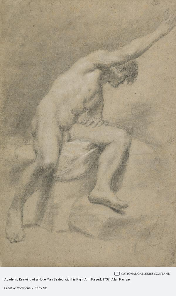 Allan Ramsay, Academic Drawing of a Nude Man Seated with his Right Arm Raised