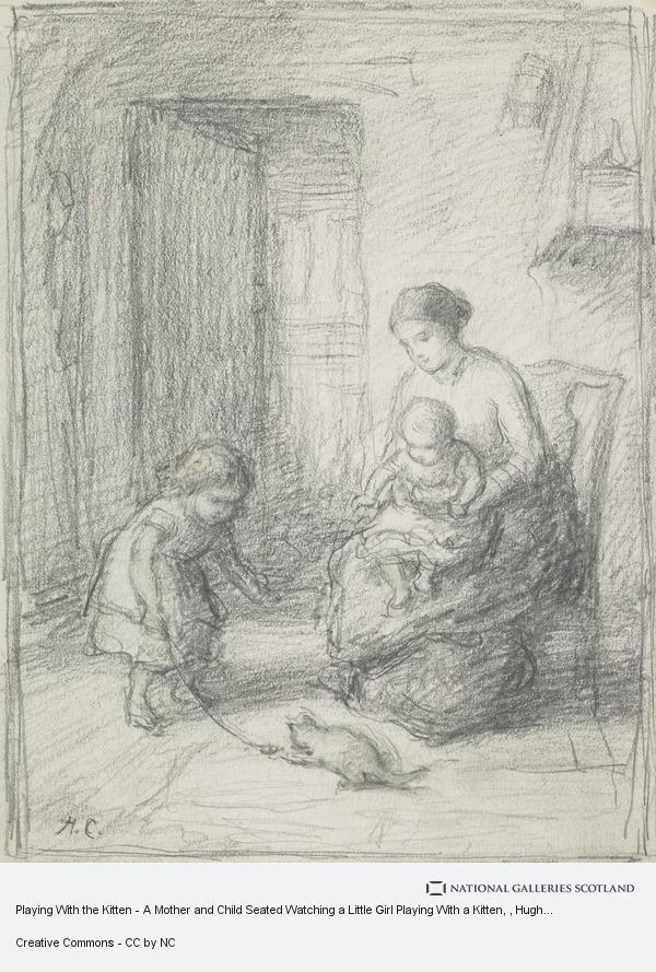 Hugh Cameron, Playing With the Kitten - A Mother and Child Seated Watching a Little Girl Playing With a Kitten