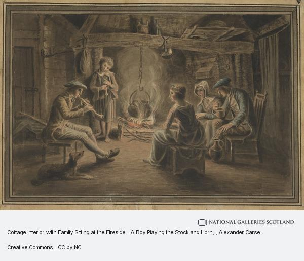 Alexander Carse, Cottage Interior with Family Sitting at the Fireside - A Boy Playing the Stock and Horn
