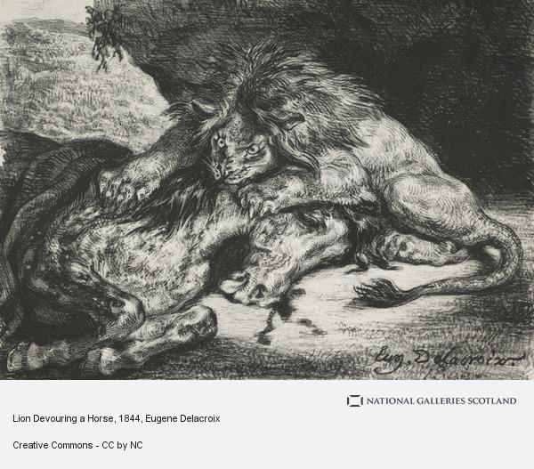 Eugene Delacroix, Lion Devouring a Horse