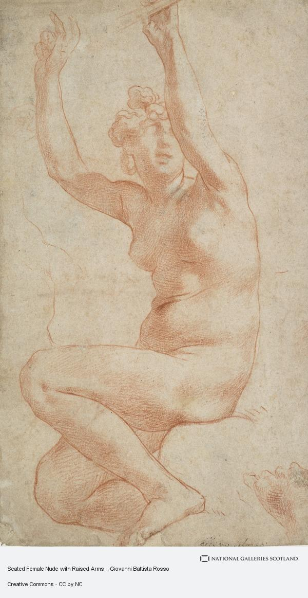 Giovanni Battista Rosso, Seated Female Nude with Raised Arms