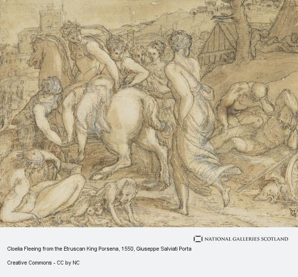 Giuseppe Salviati (Giuseppe Porta), Cloelia Fleeing from the Etruscan King Porsena