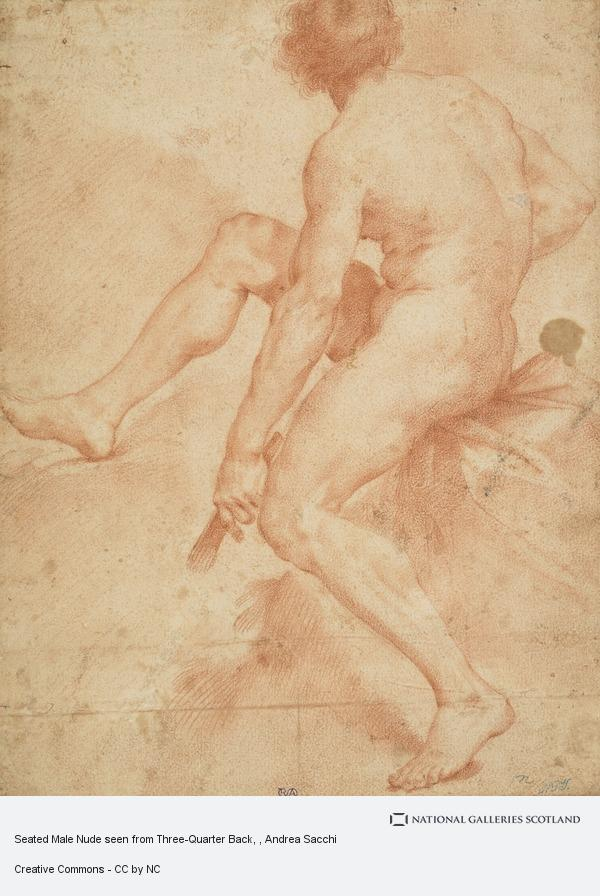 Andrea Sacchi, Seated Male Nude seen from Three-Quarter Back