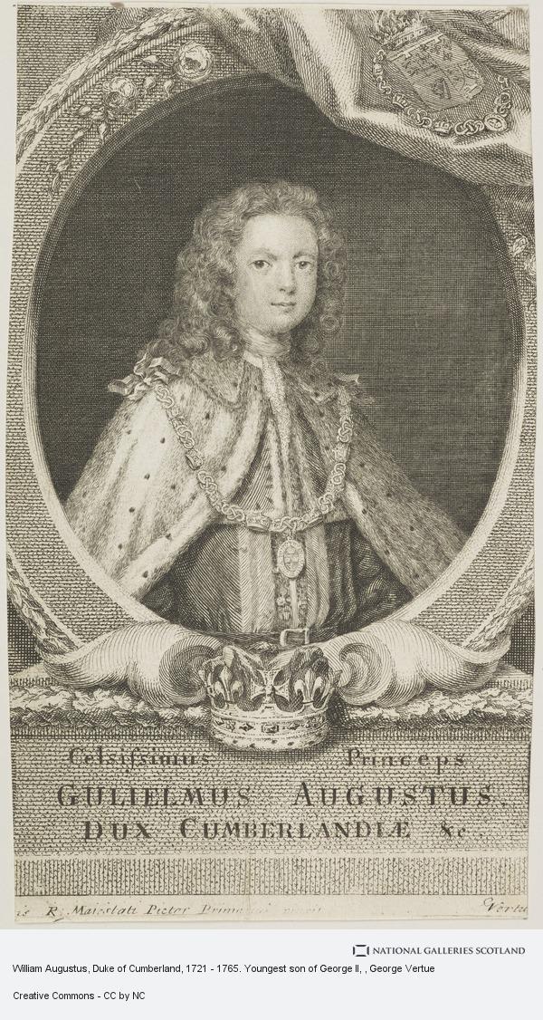 George Vertue, William Augustus, Duke of Cumberland, 1721 - 1765. Youngest son of George II