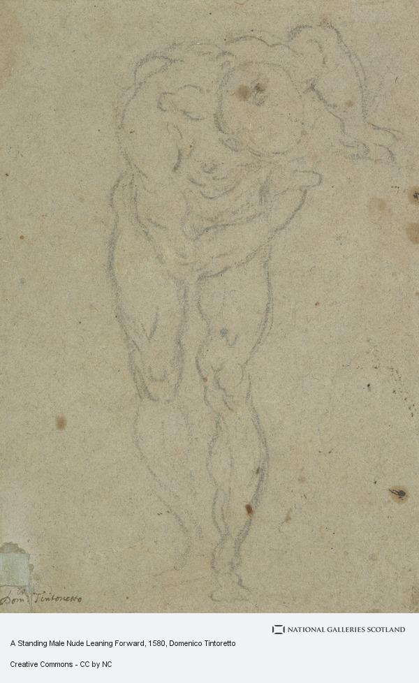 Domenico Tintoretto, A Standing Male Nude Leaning Forward (1580 - 1600)