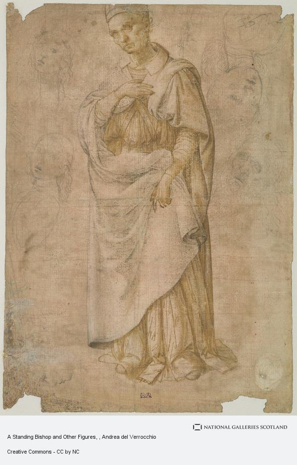 Andrea del Verrocchio, A Standing Bishop and Other Figures