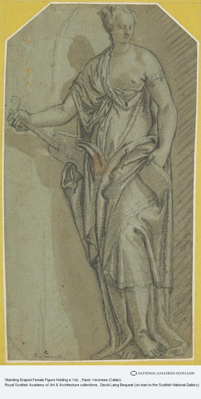 Paolo Veronese (Caliari), Standing Draped Female Figure Holding a Viol