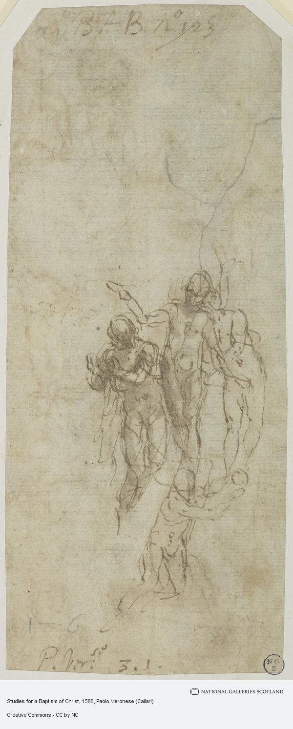 Paolo Caliari, Studies for a Baptism of Christ [Recto and Verso]