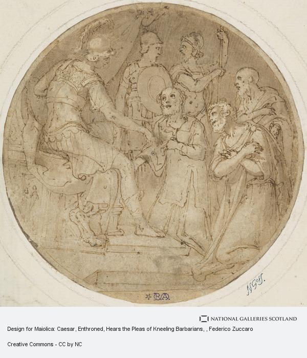 Federico Zuccaro, Design for Maiolica: Caesar, Enthroned, Hears the Pleas of Kneeling Barbarians