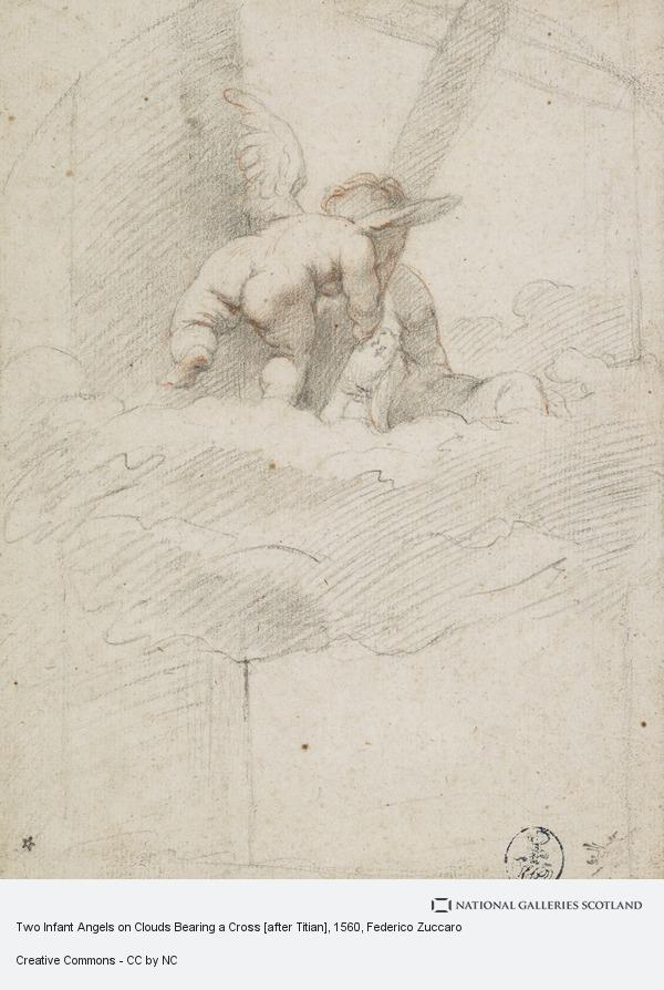 Federico Zuccaro, Two Infant Angels on Clouds Bearing a Cross [after Titian]