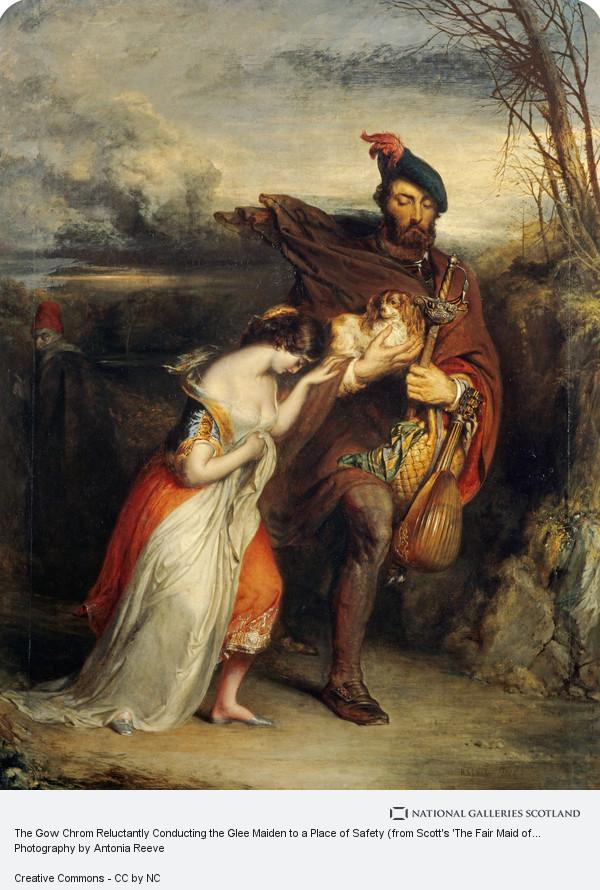 Robert Scott Lauder, The Gow Chrom Reluctantly Conducting the Glee Maiden to a Place of Safety (from Scott's 'The Fair Maid of Perth')