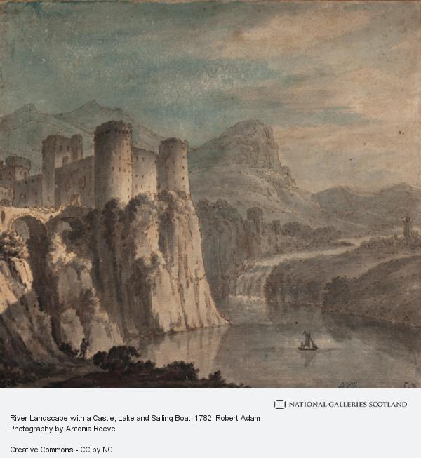 Robert Adam, River Landscape with a Castle, Lake and Sailing Boat