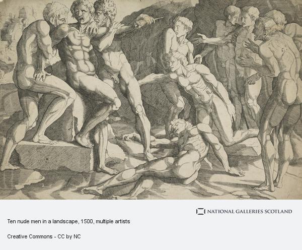 Domenico del Barbiere, Ten nude men in a landscape