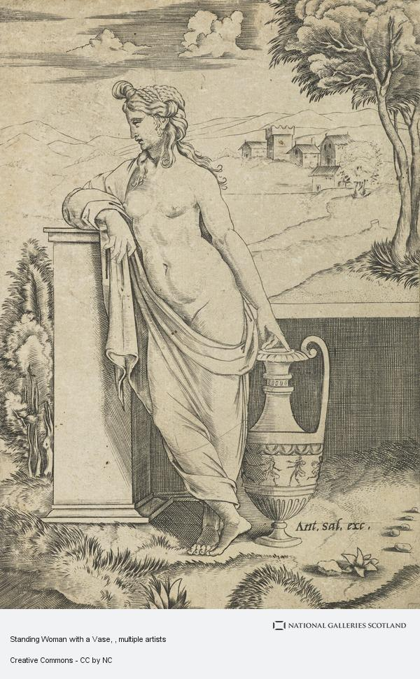 Agostino Veneziano, Standing Woman with a Vase