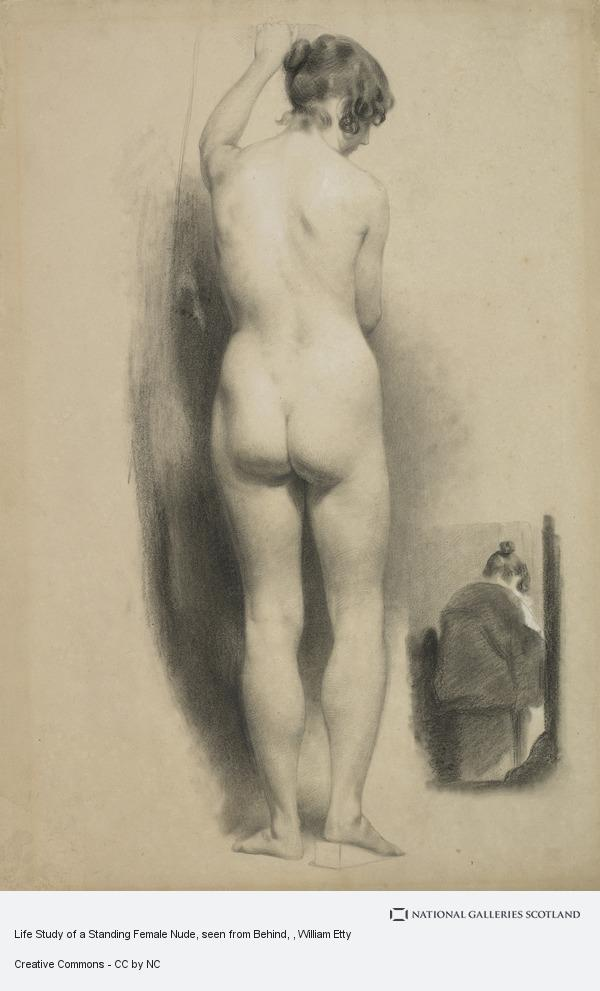 William Etty, Life Study of a Standing Female Nude, seen from Behind