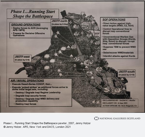 Jenny Holzer, Phase I... Running Start Shape the Battlespace pewter (2007)