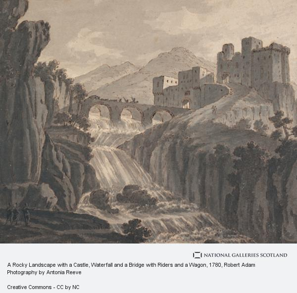 Robert Adam, A Rocky Landscape with a Castle, Waterfall and a Bridge with Riders and a Wagon
