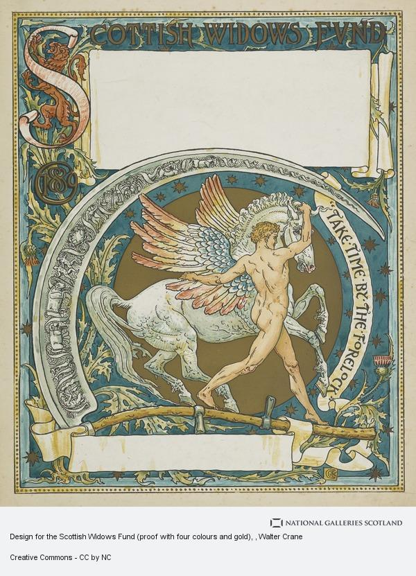 Walter Crane, Design for the Scottish Widows Fund (proof with four colours and gold)